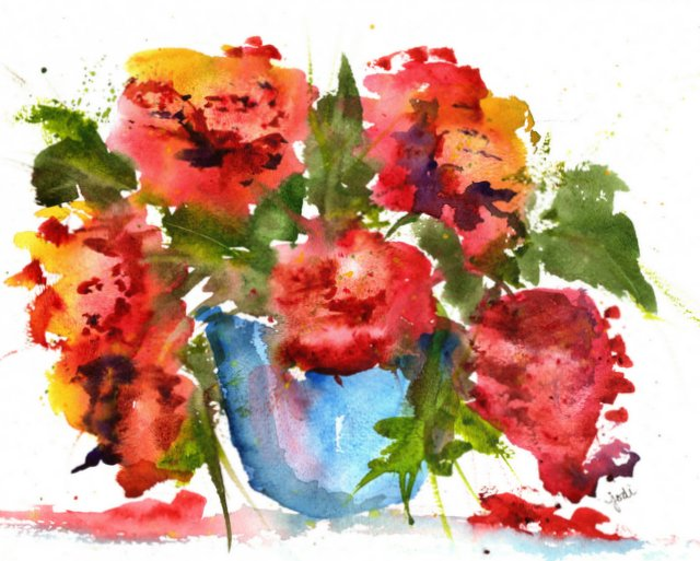 watercolor floral in red - 9x11 300 lb cold press