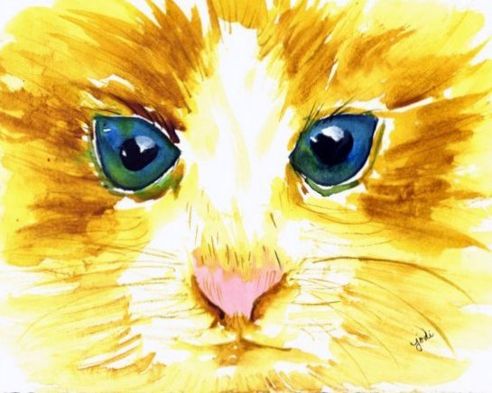 Blue Eyed Yellow Cat Face Close Up Watercolor - 7.5 x 9.5
