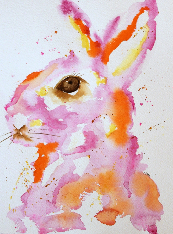 pink-orange-gold-abstract-bunny-watercolor-9x12-140lb-fabriano-artistico