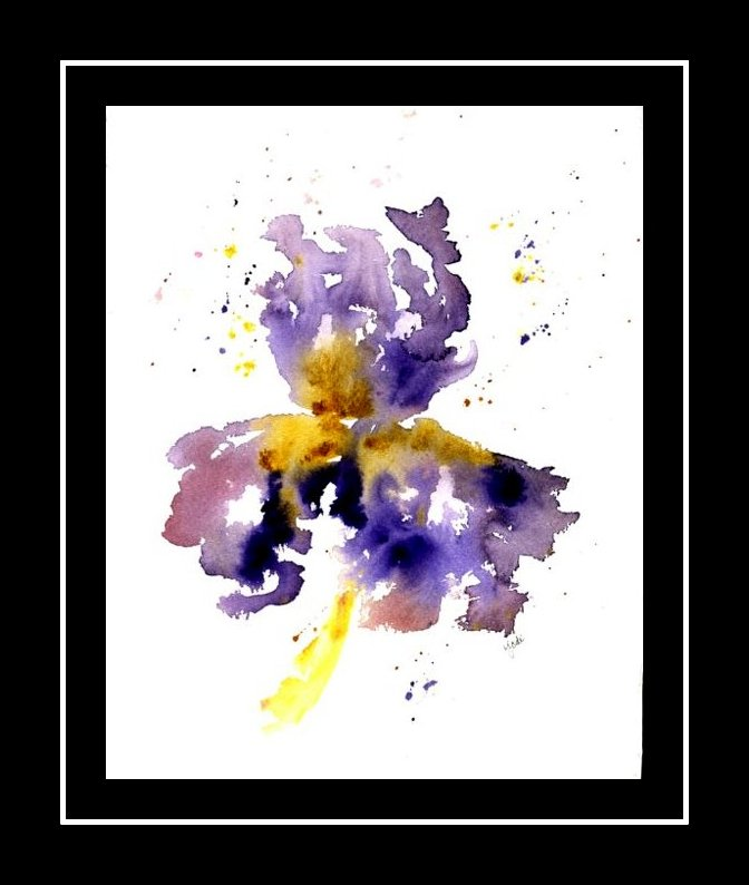 purple-iris-1-black-border-matted