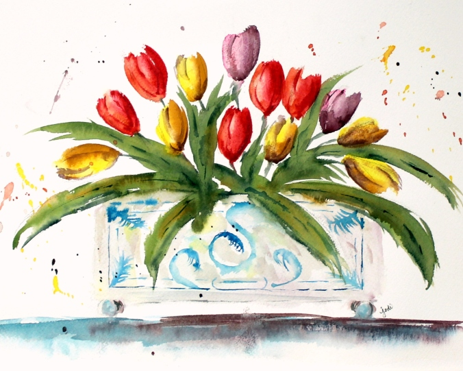 tulip-bunch-in-planter-watercolor-11x14