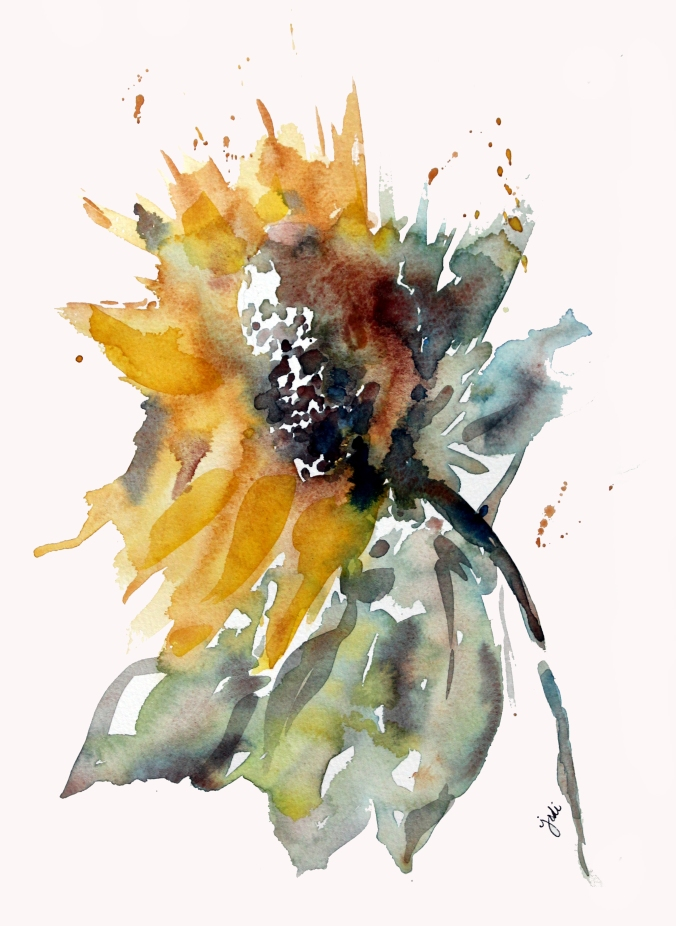 Sunflower Loose Watercolor 11x14 on 140lb Fabriano Artistico