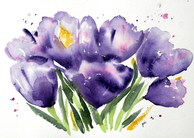 "Purple Crocus Spring Watercolor 10x14"" 300 lb Arches Cold Press"