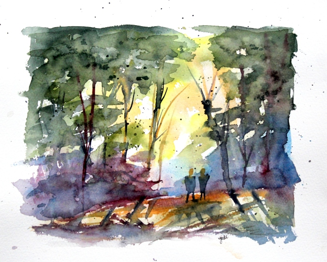 A Walk in the Woods Watercolor - 8x10 Fabriano 140lb Cold Press