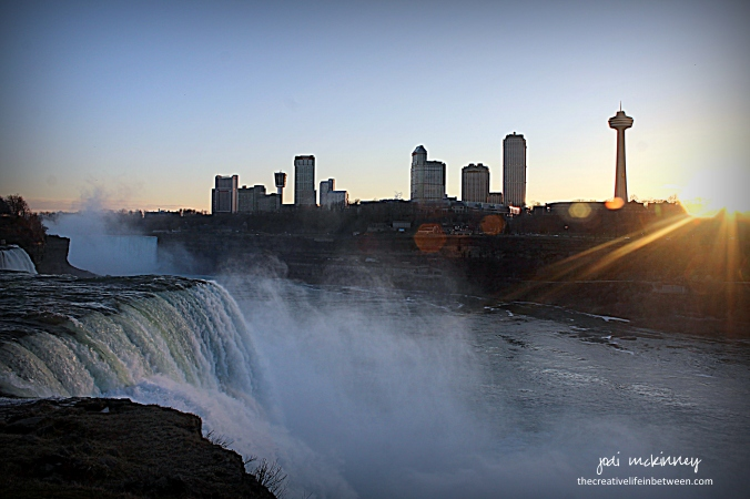 Niagara Falls at Sunset - from American Side - April 1, 2017