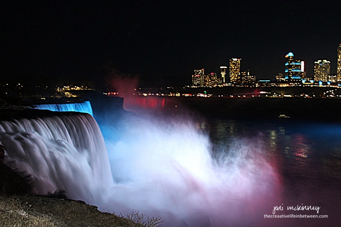 Niagara Falls after Dark - from American Side - April 1, 2017