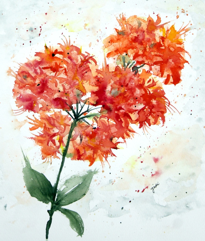 Orange Azalea Watercolor 8x10 140lb Saunders