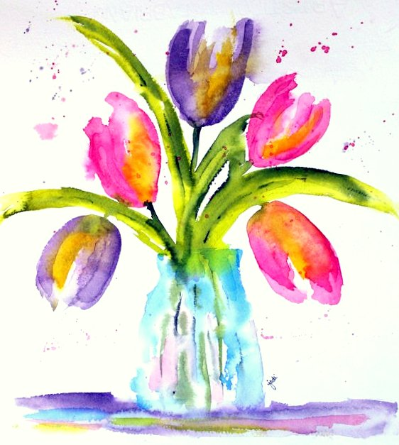 Loose Pastel Pink & Purple Watercolor Tulips - 8x10 140 lb cold press