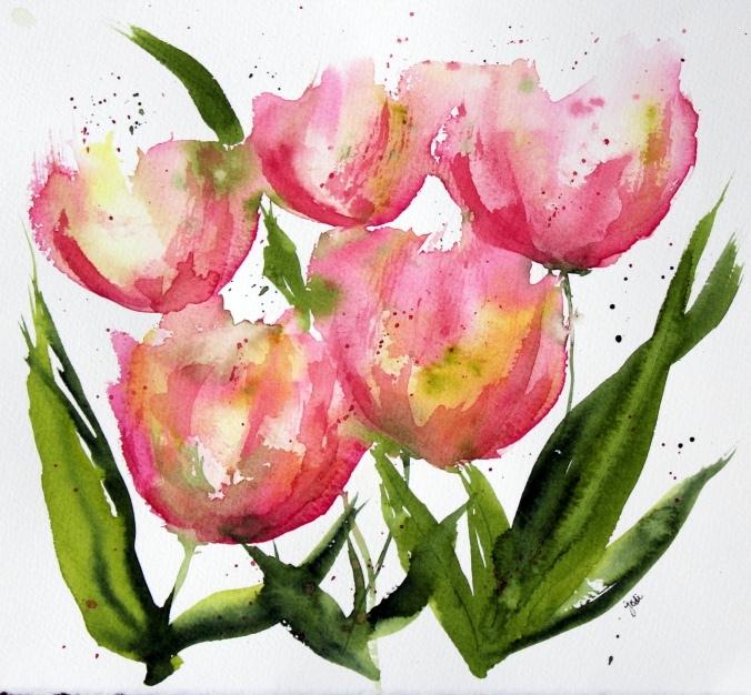 Pink Apricot Watercolor Expressionist Tulips - 8 x 10 Fabriano 140 lb Cold Press