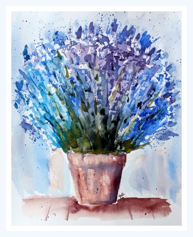 "Potted Blue Lavender in Watercolor - 8x10"" - Fabriano 140lb Cold Press"