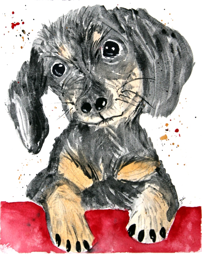 8x10 Watercolor Dachshund Puppy on 140lb Saunders Cold Press