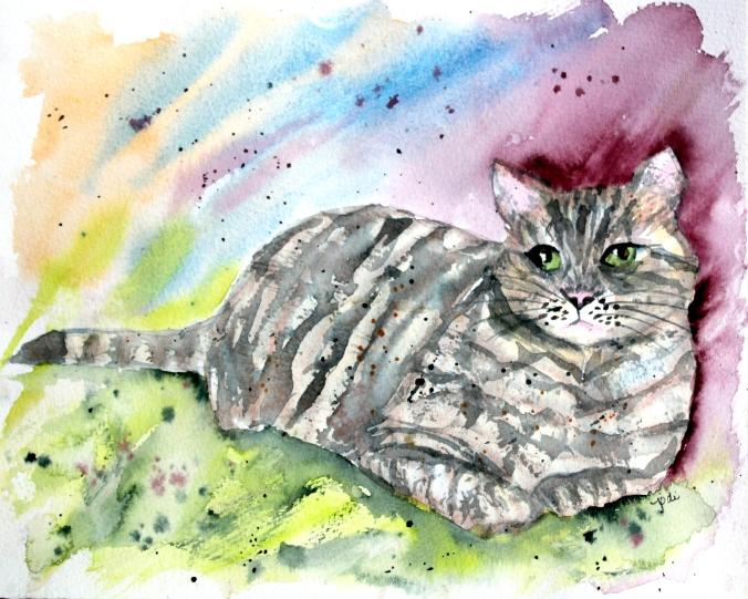 Dewey the Cat from Moonbeam Farm in Watercolor 8x10 140lb Cold Press