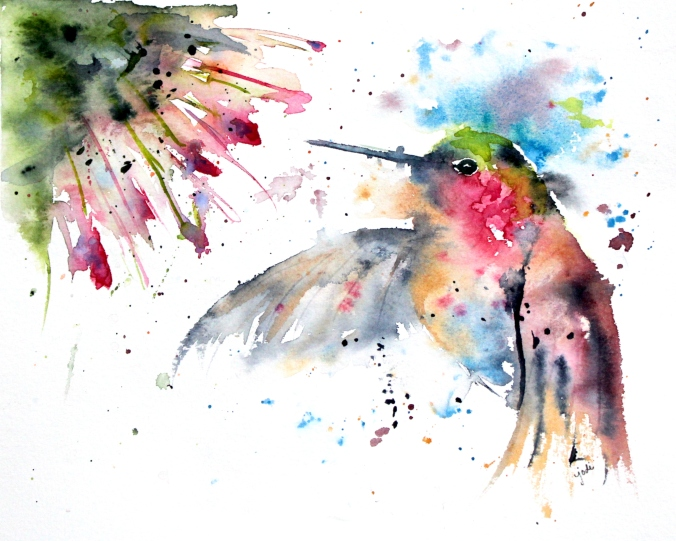 The Friendship Hummer Watercolor - 8x10 140 lb Saunders Cold Press