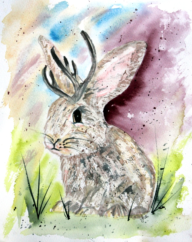 Jaxon the Jackalope on Moonbeam Farm in Watercolor 8x10 on 140lb Saunders Cold Press