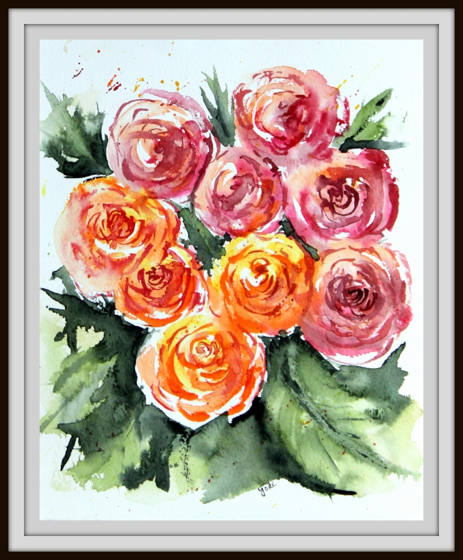 Jenna's Roses in Impressionist Watercolor 8x10 Saunders 140lb Cold Press
