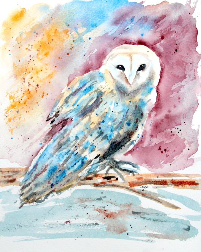 Odessa the Owl on Moonbeam Farm in Watercolor 8x10 140 lb Saunders Cold Press