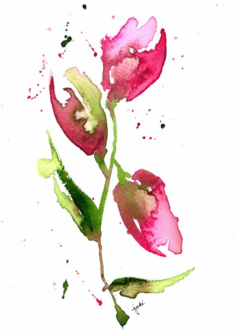 Pink Rosebuds Watercolor 5x7 140 lb Cold Press Saunders