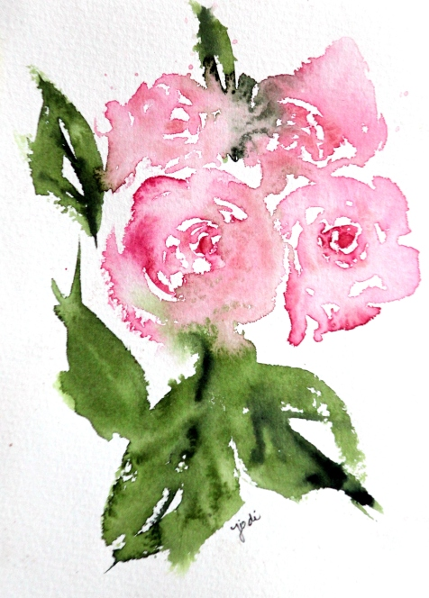 Pink Roses Warm Up Watercolor 5x7 Saunders 140 lb cold press