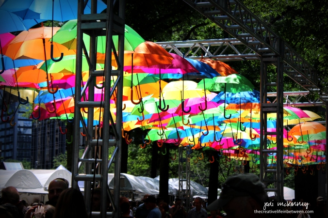 A Rainbow of Umbrellas Shading the Sunshine at Pittsburgh Three Rivers Arts Festival - June 2017