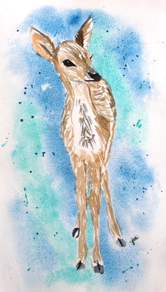 A Fawn at Dawn Watercolor 6x10 140lb Saunders Cold Press
