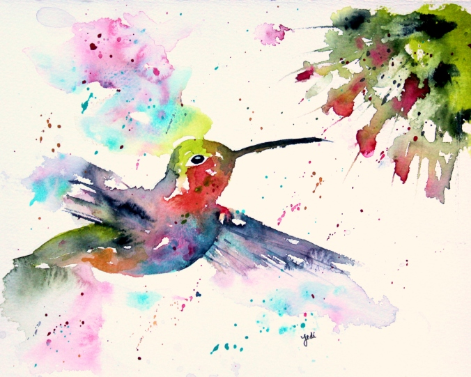 Colorful Hummingbird Watercolor 8x10 140lb Saunders Hot Press
