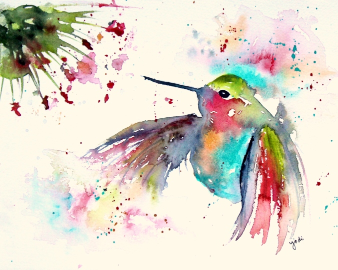 Colorful Hummingbirdm2 Watercolor 8x10 140lb Saunders Hot Press