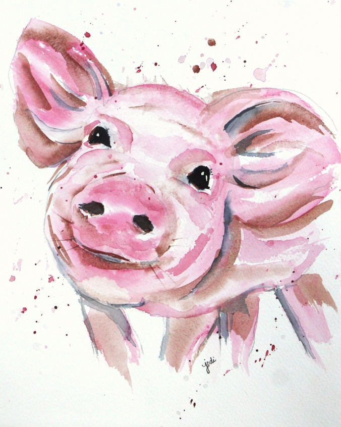 Precious Pink Pig Watercolor 8x10 140lb Saunders Cold Press
