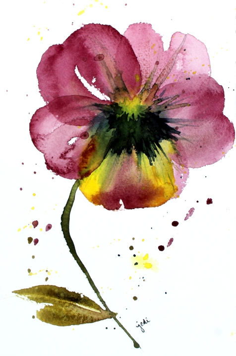 Purple Pansy Watercolor - 6x9 140lb Saunders Hot Press