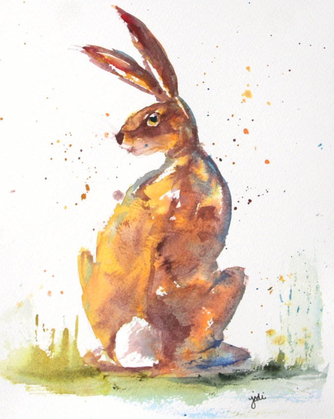 A Hare with Flair Watercolor 8x10 Saunders Cold Press