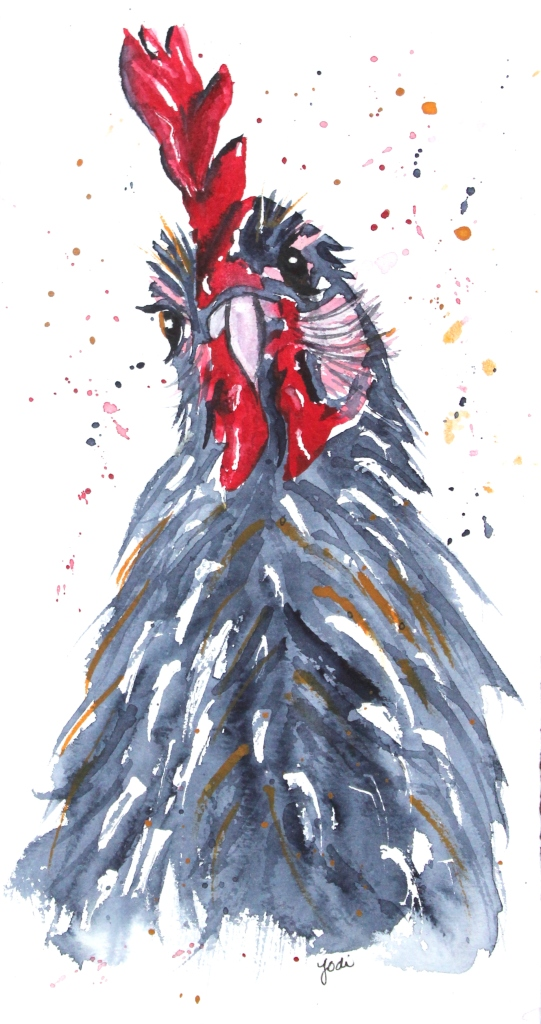 Rooty the Rooster Watercolor 6x10 140lb Saunders Cold Press