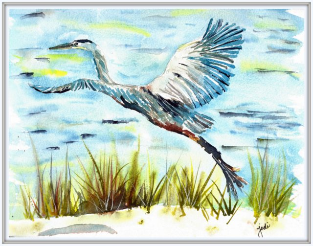 Blue Heron Taking Flight Watercolor - 8x10 140 lb Saunders Cold Press