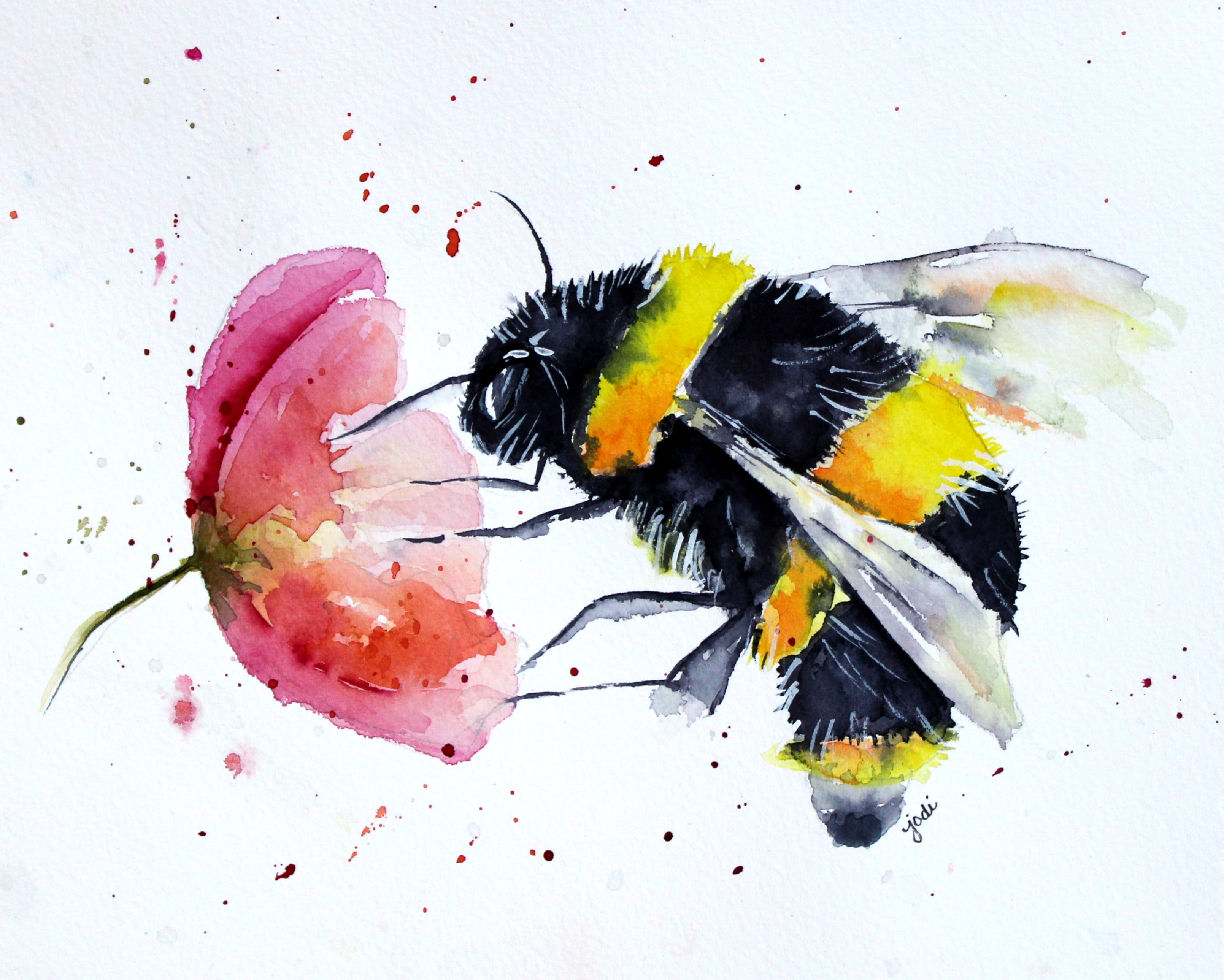 Buzz The Bumble Bee 8x10 Watercolor 140lb Saunders Cold Press
