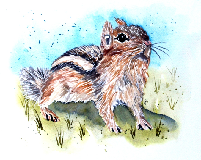 Chippy the Chipmunk Watercolor 8x10 140 lb Artistico Cold Press