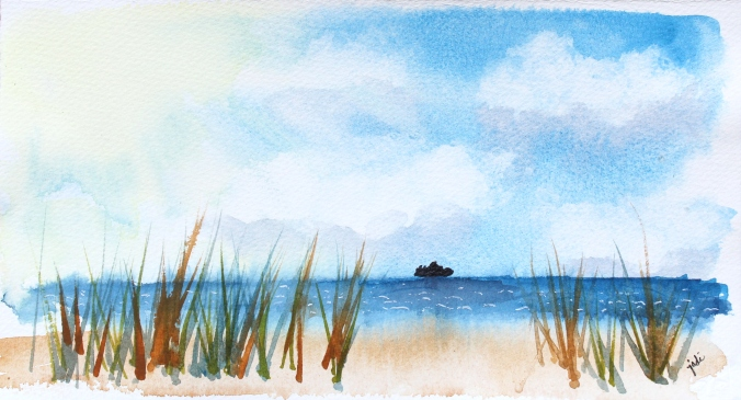 A Distant Ship from Shore Watercolor