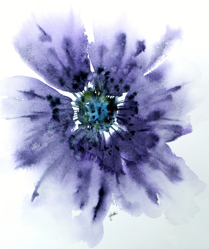 Funky Flower in Amethyst Genuine Watercolor 8x10 140lb Arches Cold Press