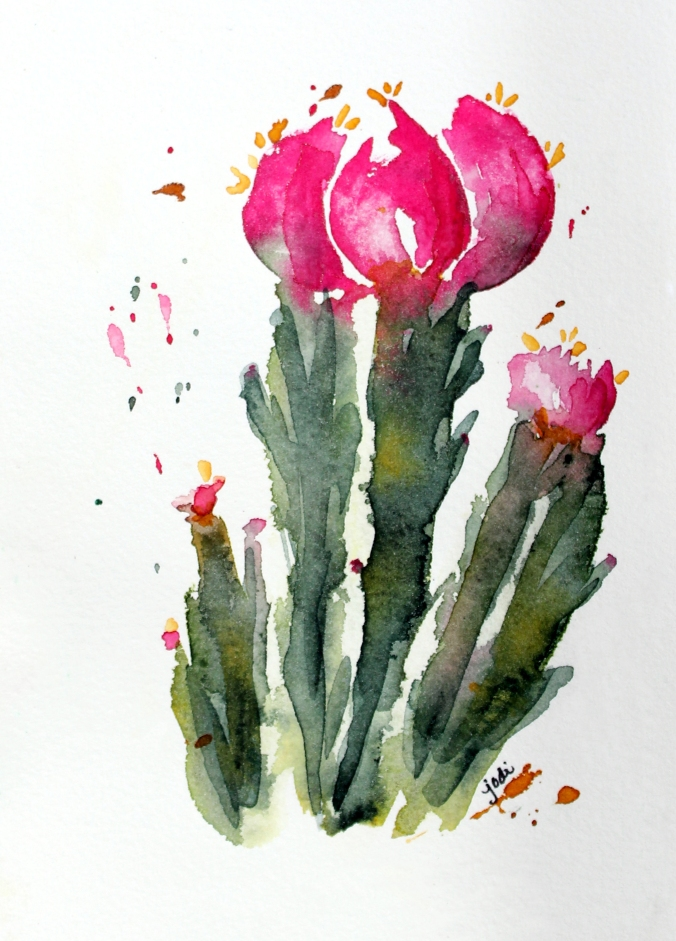 Pink Flowering Cactus Watercolor - Beauty in the Desert - 5x7 140lb Arches Cold Press