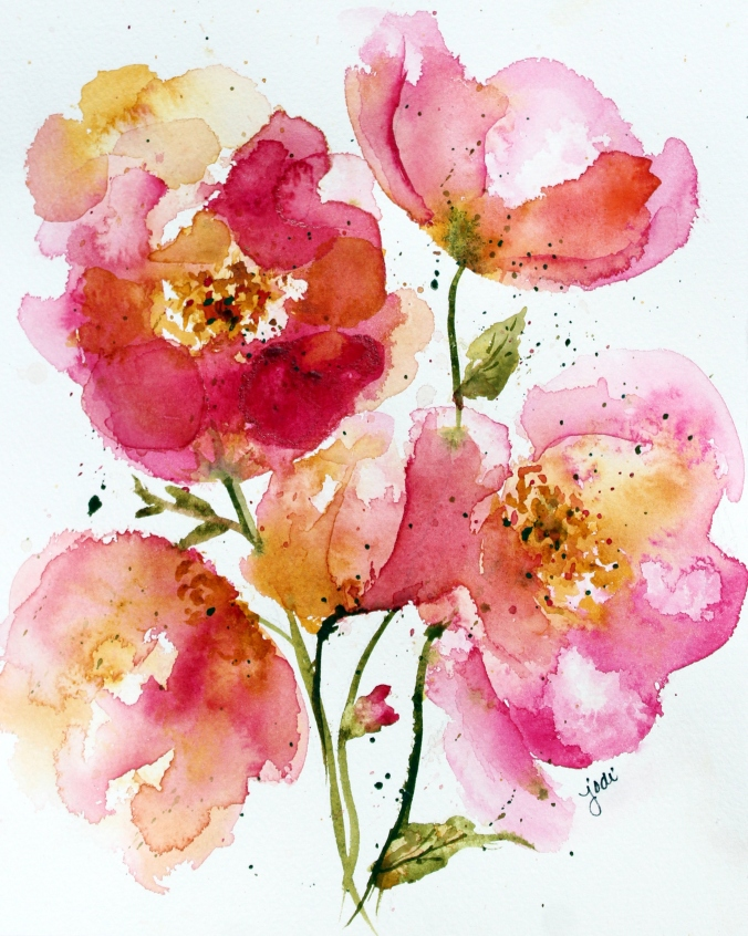 Quinacridone Rose Abstract Floral Watercolor - 8x10 on 140lb Arches Cold Press