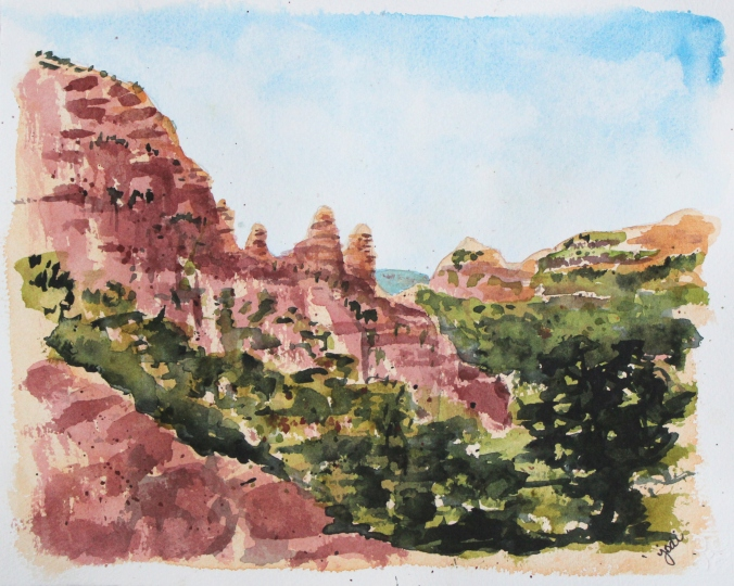 Red Rocks of Sedona Arizona from Chapel of the Holy Cross 8x10 Watercolor 140lb Arches Cold Press