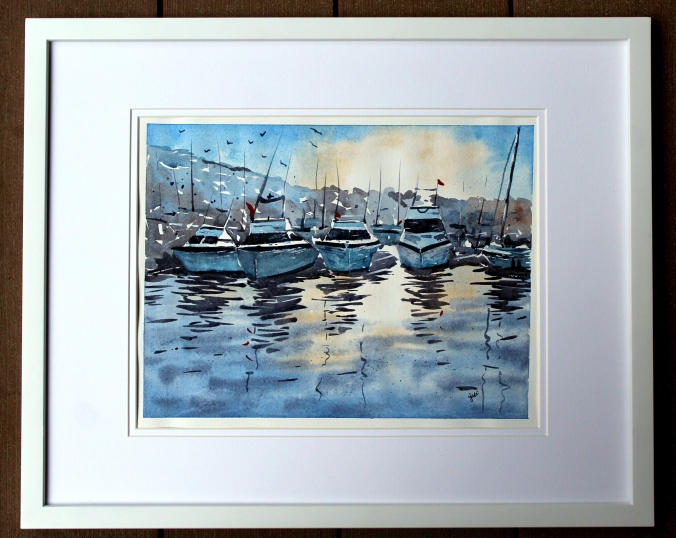 Boats in Marina at Sunset Watercolor 11x14 Original Matted and Framed