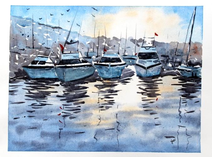 Boats in Marina at Sunset Watercolor 11x14 Fabriano Artistico 140lb Cold Press