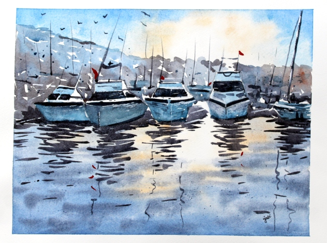 Boats in Marina at Sunset Watercolor 11x14 Fabriano Artistico 140lb Cold Press