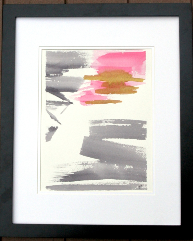 """Broken"" - Abstract Watercolor 11x14 Matted and Framed"