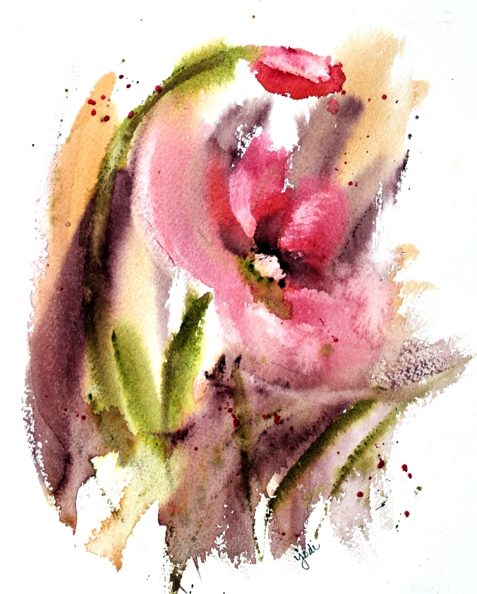 In the Pink - Abstract Flower Watercolor 8x10 140lb Cold Press