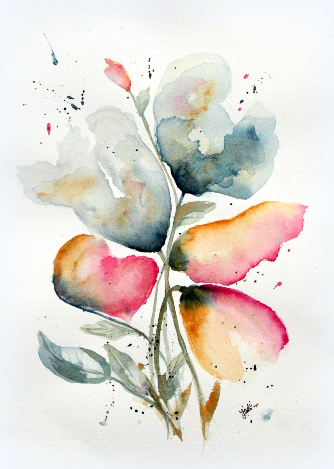 """Late Summer Dreams"" Abstract Floral Watercolor - 11x14"