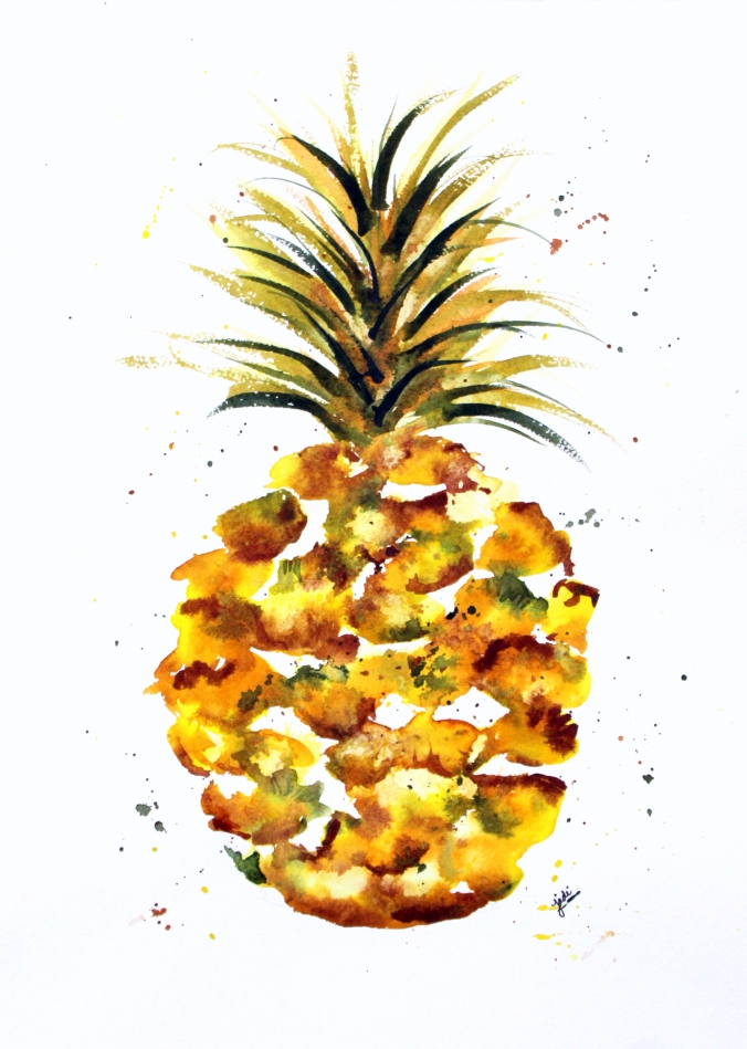 Pineapple Watercolor 11x16 Artistico Fabriano 140lb