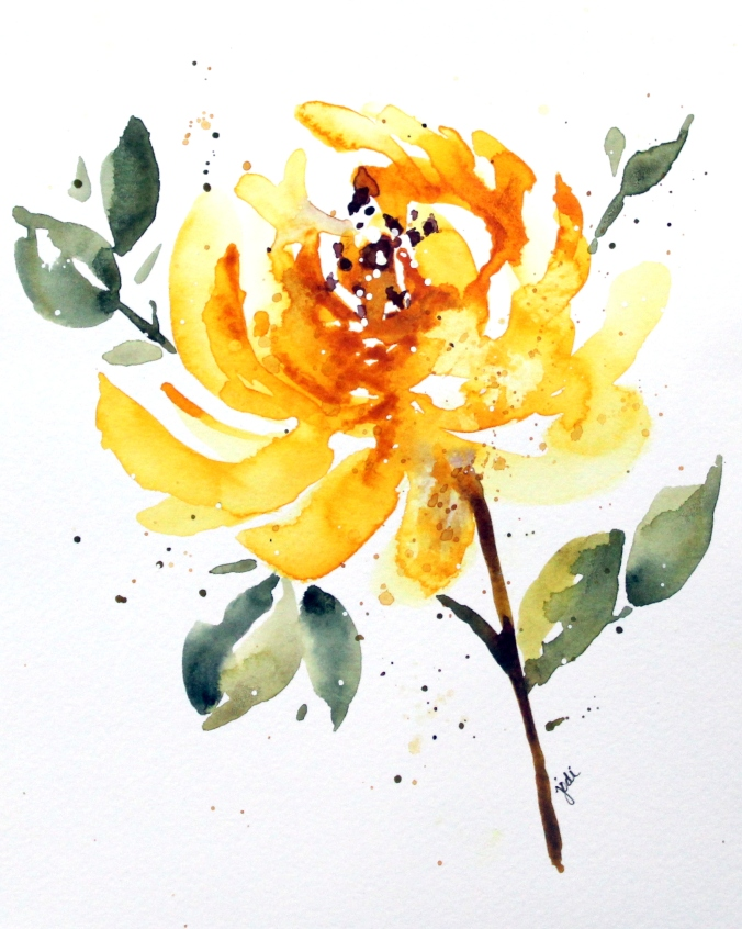 Terry's Yellow Flower of Friendship Watercolor 7 1/4 x 8 1/2 Artistico 140lb Cold Press