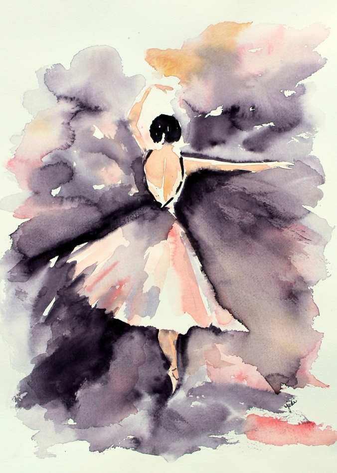 Graceful Ballerina Watercolor 11x14 Saunders Cold Press