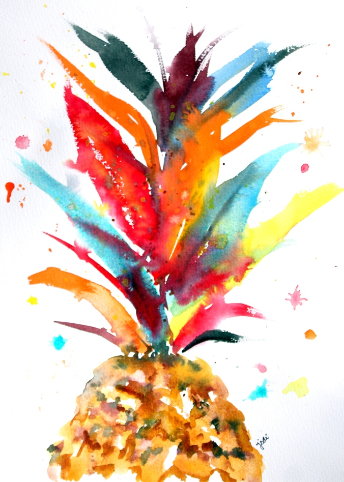 Crazy Colorful Pineapple Crown Watercolor 11x14 140 Saunders Waterford