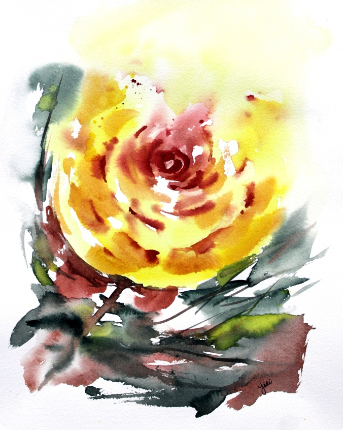 Yellow Rose Impressionistic Watercolor 11x14 Saunders 140lb Cold Press