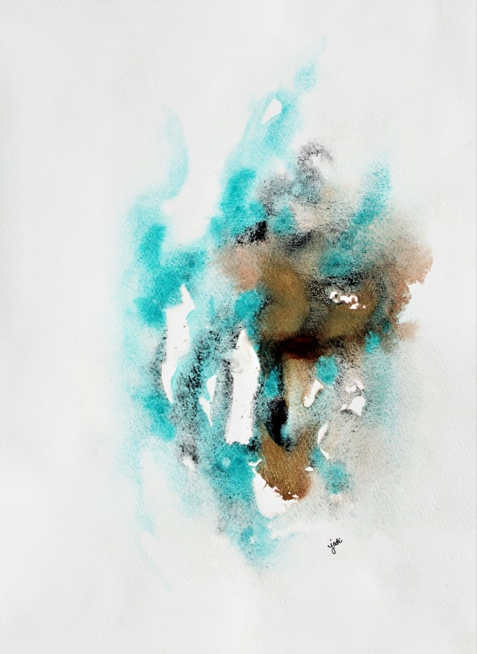 Cobalt Teal Blue, Lunar Black and Iridescent Gold Abstract Watercolor 11x14